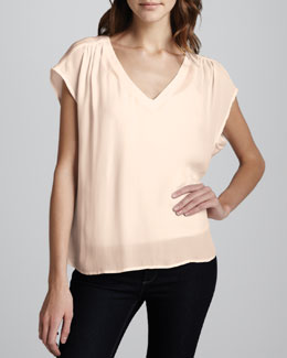Joie Suela Gathered-Shoulder Blouse