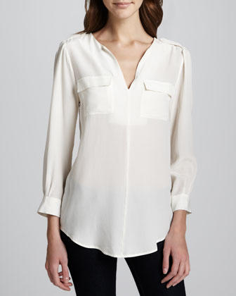 Marlo Silk Double-Pocket Top, Porcelain