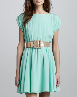 Alice + Olivia Glittered Square-Buckle Belt