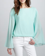 Alice + Olivia Katelyn Sheer-Sleeve Top