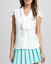 Alice + Olivia Arie Tie-Neck Lace Blouse