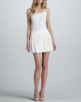 Alice + Olivia Box-Pleated Lace Skirt