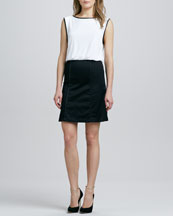 Alice + Olivia A-Line Leather-Trim Dress