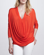 Alice + Olivia Janie Draped Cowl-Neck Top