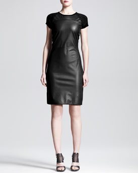 Reed Krakoff Leather-Front Knit Dress