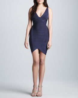 Herve Leger Plunging V-Neck Bandage Dress