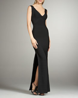 Herve Leger Sleeveless Bandage  Maxi Dress with Slit