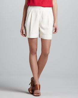 Halston Heritage Relaxed Pleated Silk Shorts