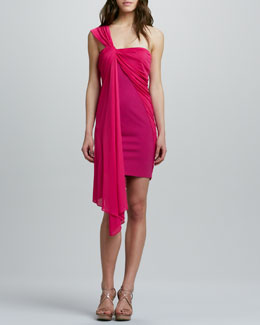 Halston Heritage Ponte Dress with Draped Overlay