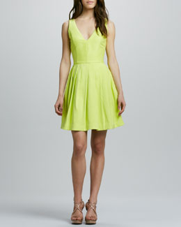 Halston Heritage V-Neck Full-Skirt Dress