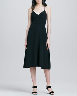 Tibi Strappy-Back Silk Dress
