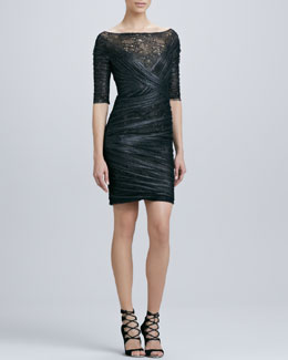 Monique Lhuillier Half-Sleeve Lace & Tulle Cocktail Dress