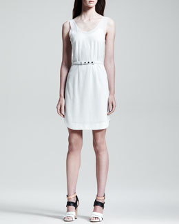 Rag & Bone Dana Belted Knit Dress, White