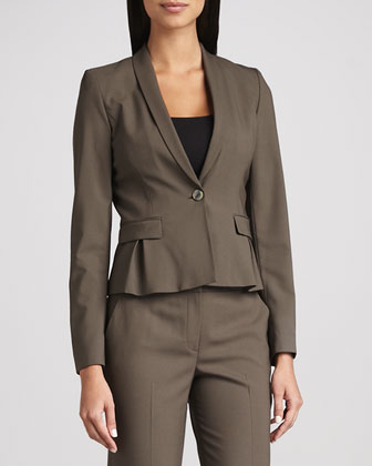 Paige Wool-Stretch Jacket, Mink