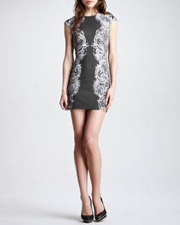 McQ Alexander McQueen Lace-Print Cap-Sleeve Sheath Dress, Black/Gray