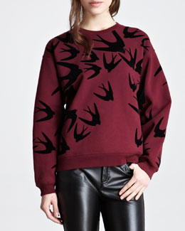 McQ Alexander McQueen Flocked Swallow Cotton Sweatshirt, Oxblood