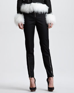 McQ Alexander McQueen Exposed Zip Crepe Pants, Black