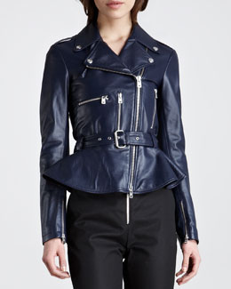 McQ Alexander McQueen Peplum Leather Moto Jacket, Marine Blue