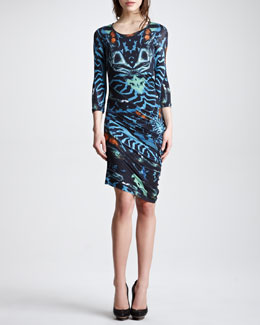 McQ Alexander McQueen Three-Quarter-Sleeve Print Jersey Dress, Teal/Multicolor