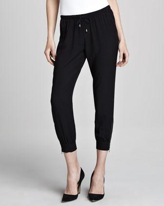 Zipper-Cuff Drawstring Pants