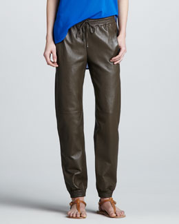 Vince Leather Jogging Pants