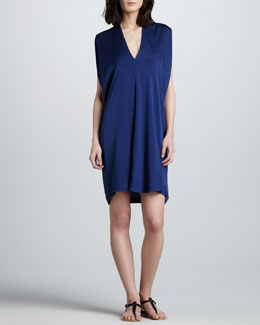 Vince Stretch-Silk V-Neck Dress