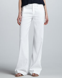 Vince Wide-Leg Linen Trousers