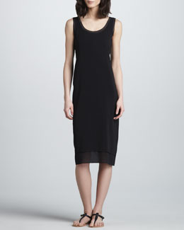 Vince Layered Mix-Fabric Dress