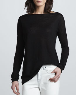 Vince Linen Boat-Neck Sweater