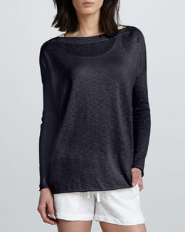 Vince Slub Boat-Neck Sweater