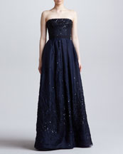 J. Mendel Sequined Strapless Organza Ball Gown, Nacy