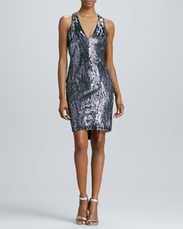 Naeem Khan Low-Back Beaded Cocktail Dress