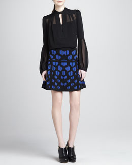 Diane von Furstenberg Float-Print Fit-and-Flare Skirt