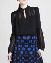 Diane von Furstenberg Isolde Long-Sleeve Chiffon Top
