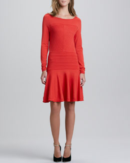 Diane von Furstenberg Delta Long-Sleeve Flounce Dress