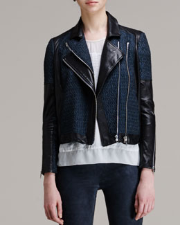 Helmut Lang Leather-Trim Jacquard Moto Jacket