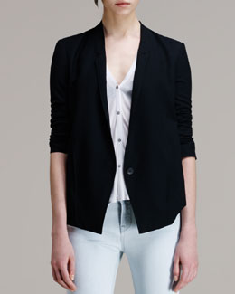 HELMUT Helmut Lang Scrunch-Sleeve Suiting Blazer