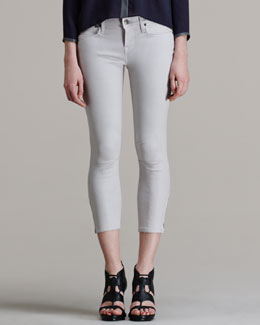 HELMUT Helmut Lang Halo High-Gloss Cropped Skinny Pants
