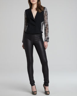 Helmut Lang Stretch Plonge Leather Skinny Pants