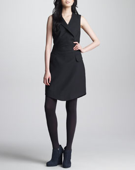 Carven Sleeveless Gabardine Suiting Dress, Black