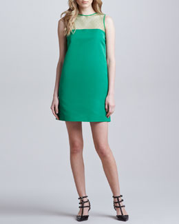 RED Valentino Point d'Esprit Silk Faille Shift Dress, Green