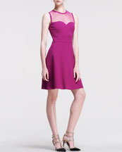RED Valentino Ponte Jersey Dress with Point D'Esprit and Embellished Sweetheart Neckline, Raspberry