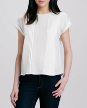 Theory Sellida Pintucked Silk Top