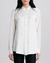 Theory Bryne Silk Button-Down Blouse
