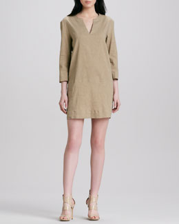 Theory Helda Linen-Blend Dress, Sandy Beige