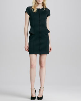 Theory Tenna Peplum Front-Zip Dress