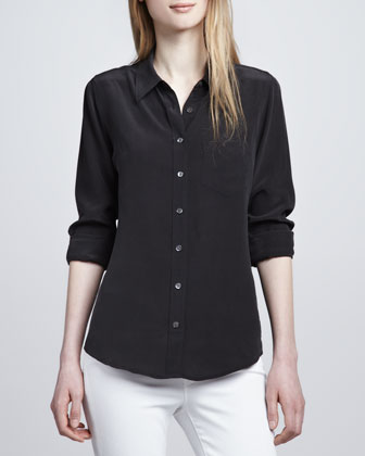 Brett Button-Up Blouse, Black