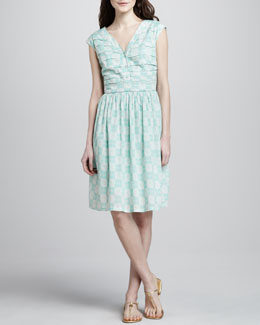 Tory Burch Nico Printed Pintucked Dress