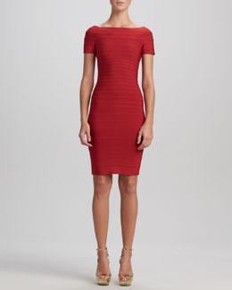 Herve Leger Boat-Neck Bandage Dress