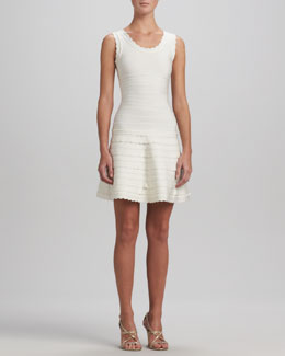 Herve Leger Scallop-Trim A-Line Bandage Dress, Alabaster